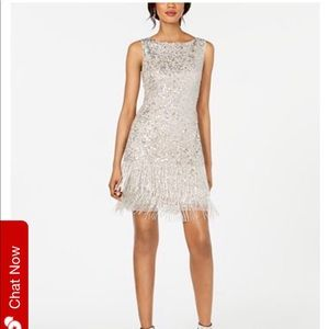 Adrianna Papell Beaded Fringe Short Dress